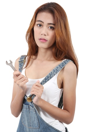 bikini construction: Image of woman worker holding stainless steel wrench for her job Stock Photo