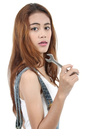 Image of woman worker holding stainless steel wrench for her job photo