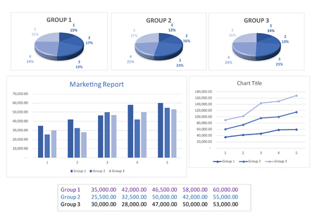 Image of set of marketing report table and info graphics on white background