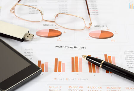 document management: image of financial report and graphics for business Stock Photo