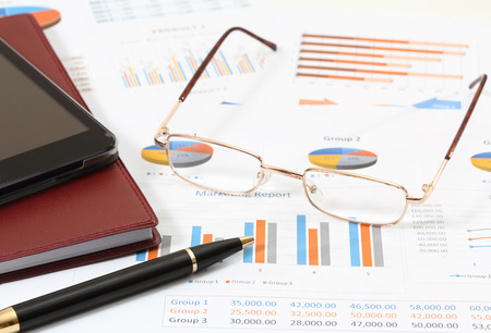image of financial report and graphics for business Stock Photo
