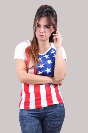 Image of beautiful asian woman in fashion american flag t-shirt