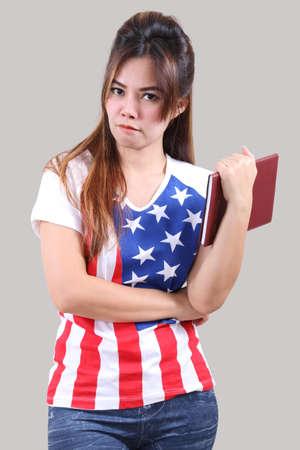 Image of beautiful asian woman in fashion american flag  Stock Photo