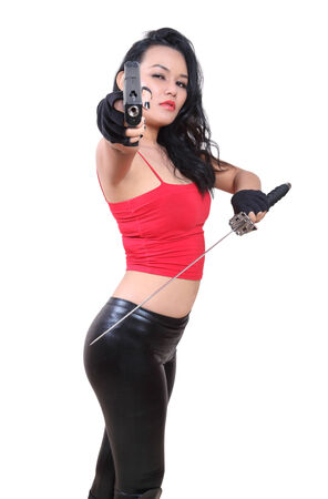 asian woman fighter in red and black holding samurai and gun