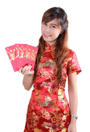 traditonal: chinese woman happy in chinese traditonal dress on white background