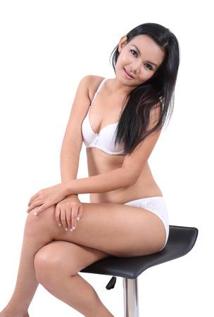 sexy asian woman: Image of asian woman in sexy white bikini for summer Stock Photo