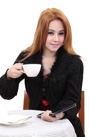 beautiful asian woman drink hot coffee on white background