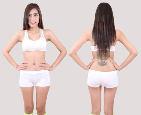 beautiful asian woman in white fitness clothes front and back in studio