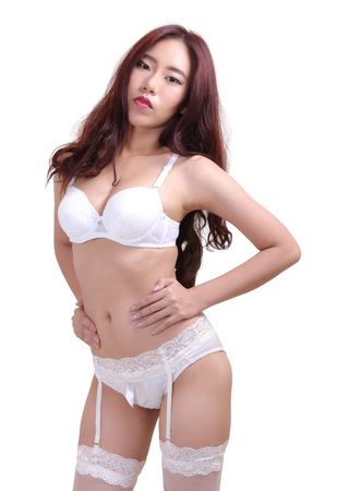 Image Of Young Asian Woman In Sexy White Underwear Stock Photo