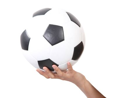 soccerball: Closeup image of soccerball on hand and white background