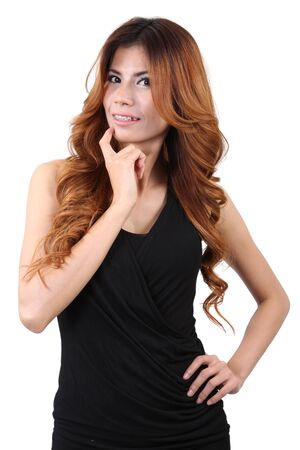 Woman fashion with black clothing in studio photo