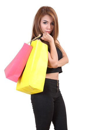 go to the shopping: beautiful woman holding shopping bag and go shopping