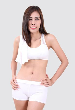 beautiful asian woman with fitness clothes