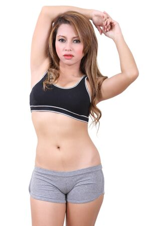 asian young woman in sport fitness clothes Stock Photo