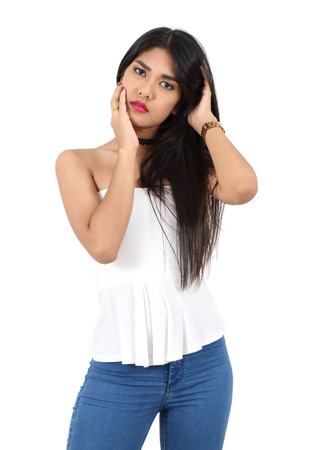 portrait young asian woman fashion and white background in studio  Stock Photo