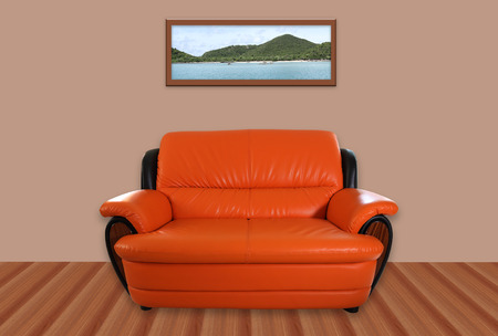image of orange sofa in the room