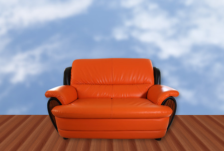 image of orange sofa and clound background