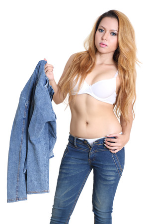 portrait young woman white bra and jeans fashion with white background