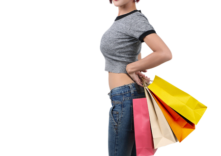 beautiful asian woman go shopping and holding shopping bag on her hand Stock Photo