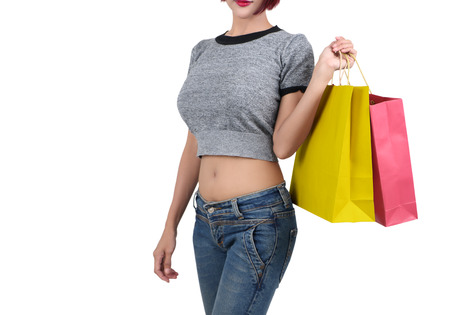 woman go shopping and holding shopping bag on her hand Stock Photo