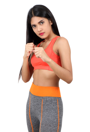 young asian woman in workout clothes