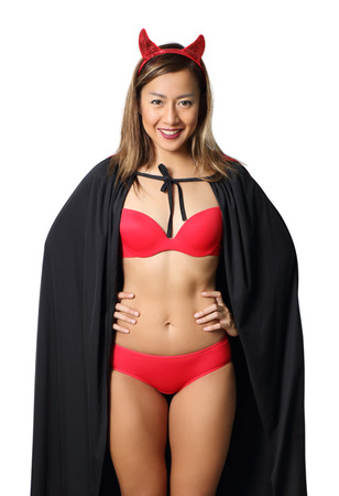 asian woman witch in red bikini on white background Stock Photo