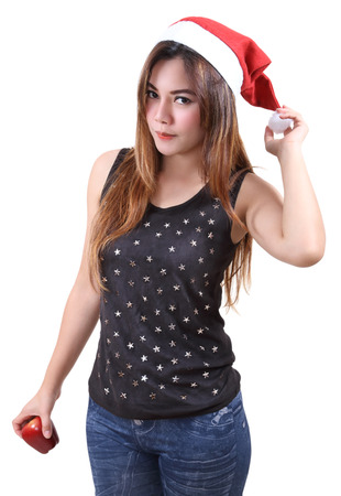 beautiful woman fashion wearing red santa claus hat for christmas season Stock Photo - 87601230