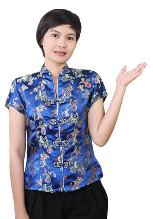 asian woman in chinese clothes and happy on chinese new year