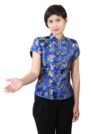 asian woman in chinese clothes and happy on chinese new year Stock Photo - 97029094