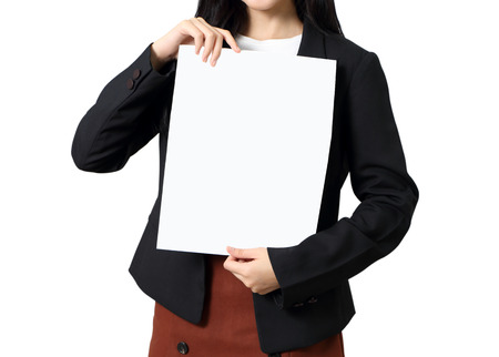 business woman show her business graph paper on white background Stock Photo - 97967869
