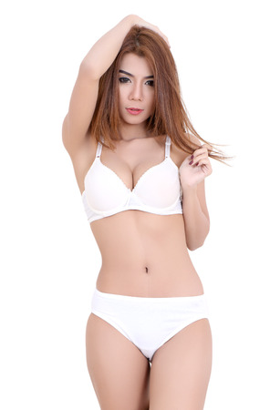 young asian woman white bikini on white background