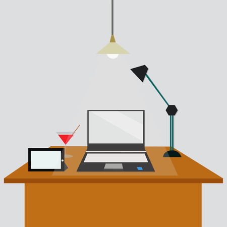 office concept. There are laptop,lamp, tablet,grass of water on the table.