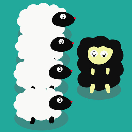 About sheep concept and different concept for cheep,There is  black sheep and There are white sheep 向量圖像