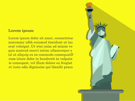 new ideas: concept design of vector,statue of liberty on yellow background,cute design of statue of liberty,statue holding fire.