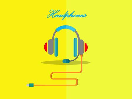 headphones on the yellow background,cute design of headphones,concept design of vector,