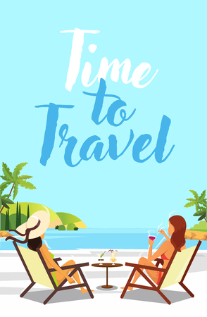 Travel poster vector template design with text. Tourist resting on the beach. 向量圖像