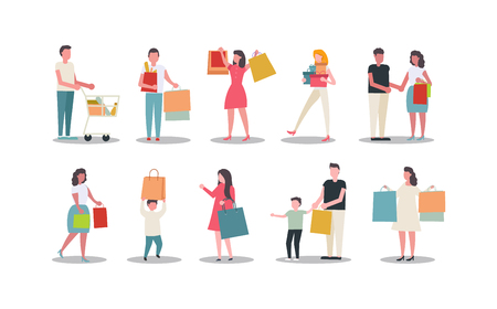 Collection of people carrying shopping bags on white background. concept of vector men and women are shopping. 向量圖像