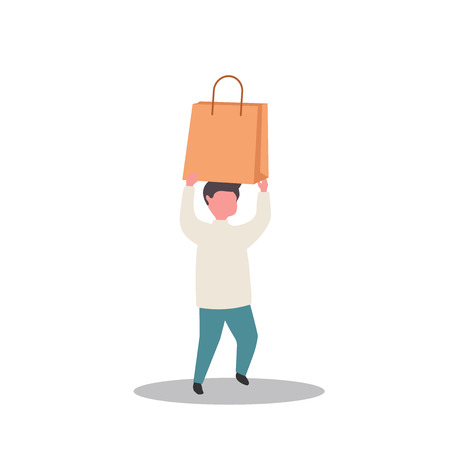people carrying shopping bags with purchases. Men taking part in seasonal sale at store, shop, mall. Cartoon characters isolated on white background. Flat vector illustration. 向量圖像
