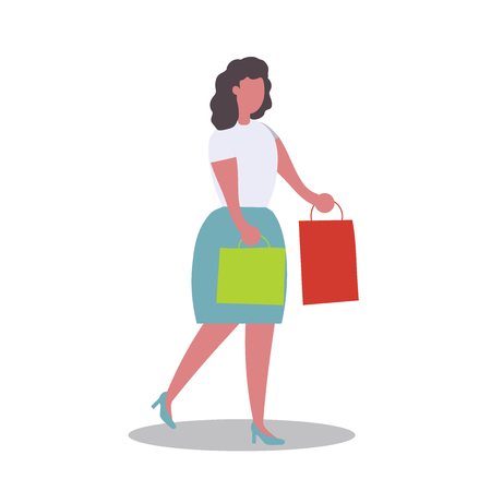 people carrying shopping bags with purchases. Women taking part in seasonal sale at store, shop, mall. Cartoon characters isolated on white background. Flat vector illustration.