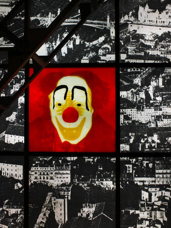 Abstract background interior with clowns graphic and wire-frame photo