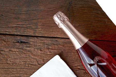 flavoured: bottle flavoured fruit wine on wood