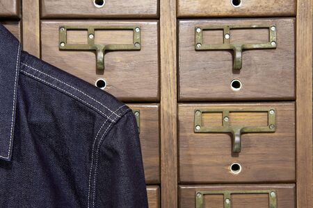 drawers: Drawers with denim jacket.