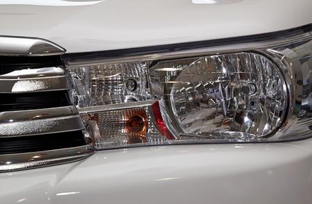 headlights: Closeup headlights of car. Stock Photo
