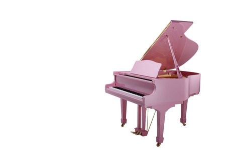 acoustically: Pink Grand piano isolated on a white background.