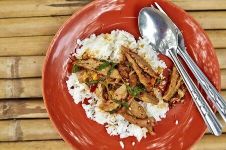 santa cena: Un plato fresco de la comida de estilo tailand�s, pato frito con albahaca y jazm�n blanco arroz pegajoso