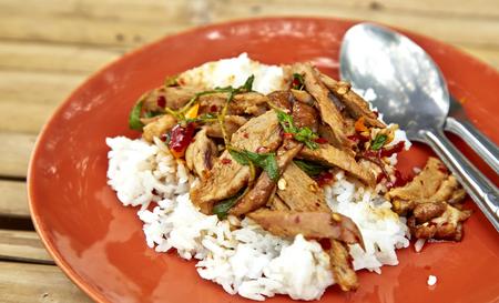 santa cena: Un plato fresco de la comida de estilo tailandés, pato frito con albahaca y jazmín blanco arroz pegajoso