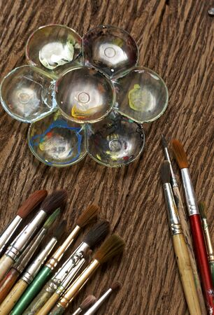 paints: watercolor paints with artistic brushes