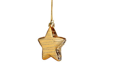 gold christmas decorations: christmas star isolated on white background