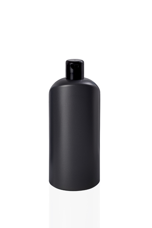 rinse: Gray tubes of shampoo, conditioner, hair rinse, mouthwash, on a white background with reflection Stock Photo