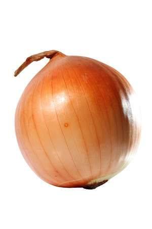 pealing: One yellow onion isolated on white background Stock Photo